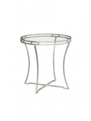 Silver Iron Round Side Table with A Clear Glass Top