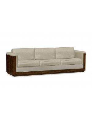 110'' Antique Mahogany Brown High Lustre Sofa, Upholstered in Mazo