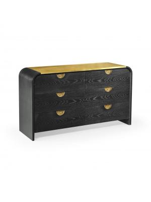 Fusion Curved Ebonised Oak& Brass Dresser with Six Drawers