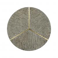Casual Transitional Circular Dark French Oak & Brass End Table