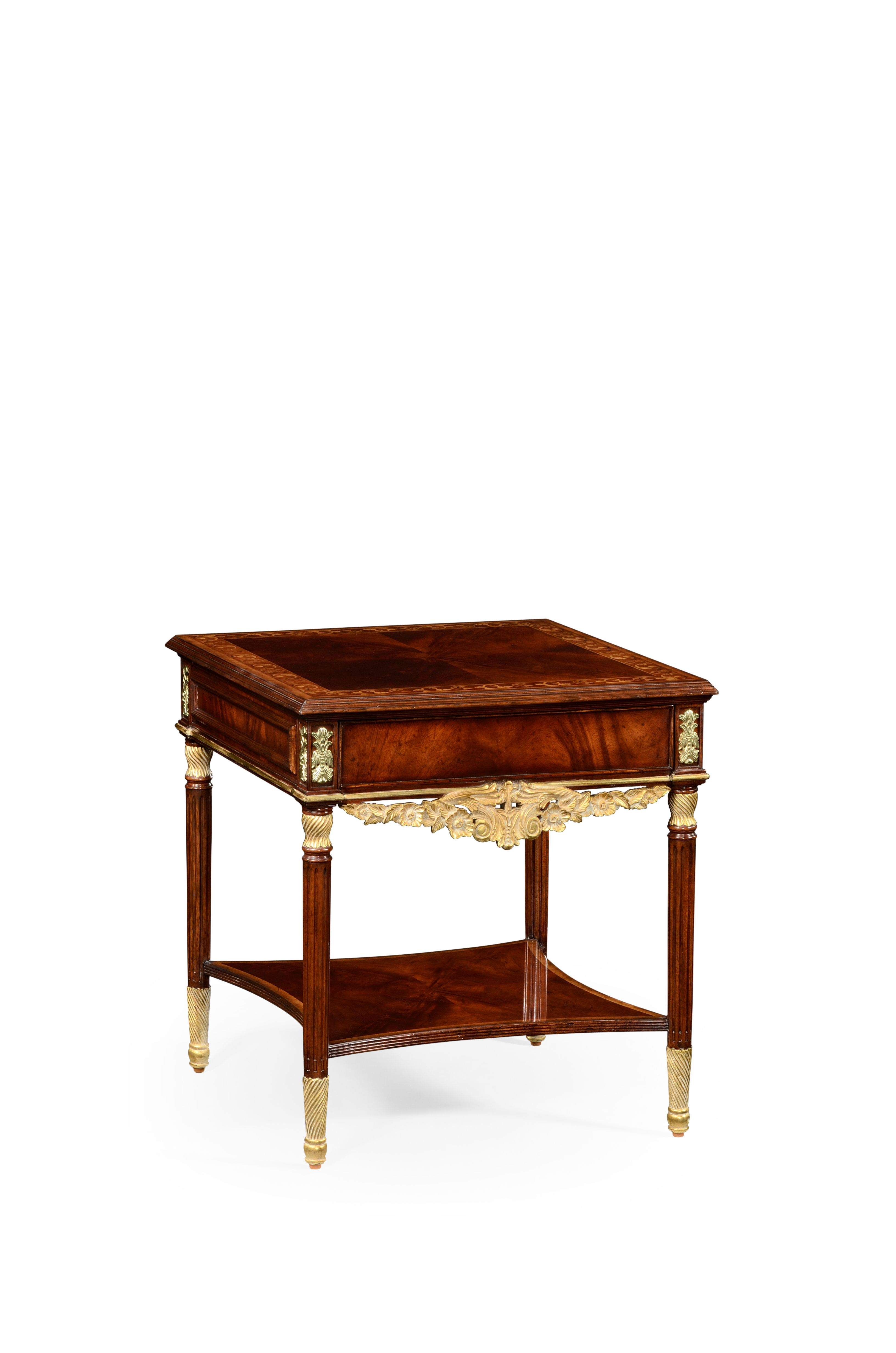 Louis IV style mahogany & gilded square side table